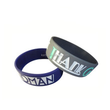 Custom Cheap 1 inch rubber band silicone wristband with injection color