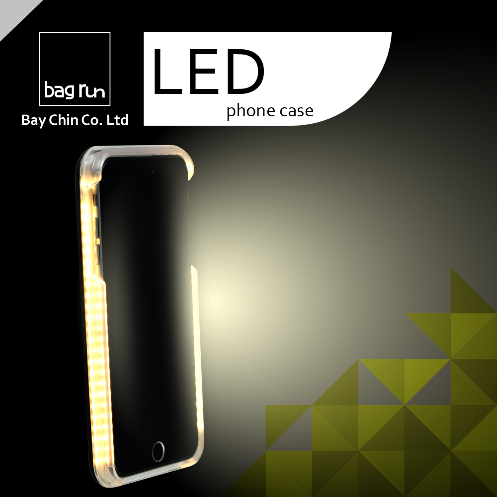 Private Label OEM Selfie Fill in Light LED Phone Case with 8 Pin ios Light Charging