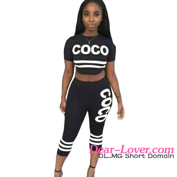Ladies Casual Black Coco Two Piece Women Clothing Sexy Pant Set