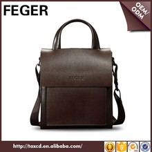 Small business briefcase brown customized genuine cow leather handbag for sale