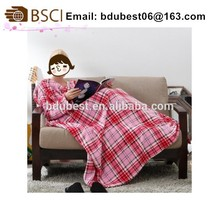 2014 polyester with sleeves adult cozy snuggie coral fleece tv blanket