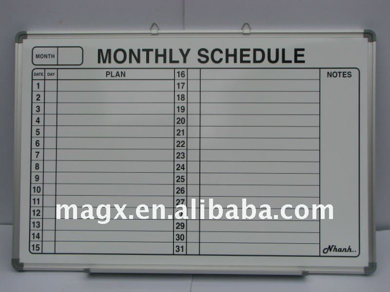 Schedule Board For Monthly Planning