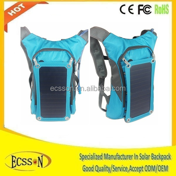 Factory price cell phone solar charger bag, backpack with solar panel 10000mah