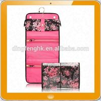 High quality flower print pvc hanging cosmetics bag