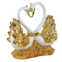 Romantic Hand Painted Resin Sculpture Marry Couple Swan statues