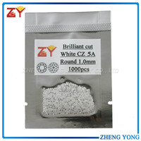 Best quality white round machine cut 5A CZ stones