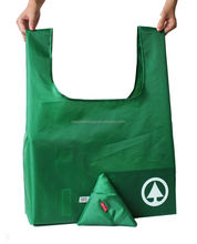 Recycle Cheap Polyester Reusable Folding Bag with Triangle Shape Pouch