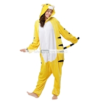 wholesale unisex kigurumi animal Yellow tiger onesie pajamas/sexy flannel onesie pajamas