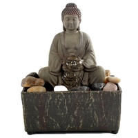 Anyouo indoor art Led resin home decor tabletop Buddha statue water fountain with stones