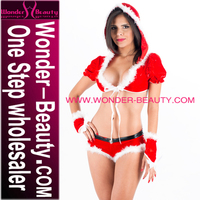 Wholesale Fuzzy Red Santa Hooded Tops and Panties for Women