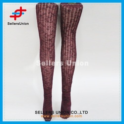 Women's sexy new style burgundy warm cheap stocking thigh high socks for wholesale