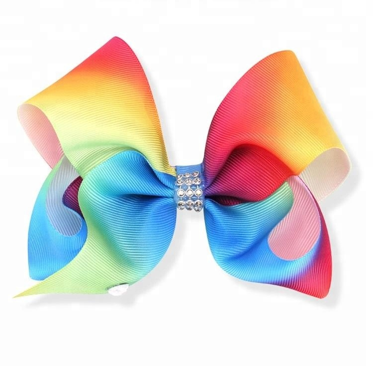 Rainbow Color Boutique Big Wholesale Girls Hair Bows Hairgrips