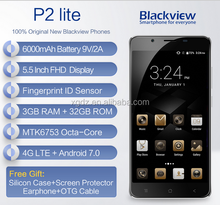 "Blackview P2 lite 4G Mobile Phone 5.5"" FHD MTK6753 Octa Core Android 7.0 3GB RAM 32GB ROM 13MP 6000mAh Fingerprint ID Cellphone"