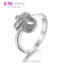 Fashion Design Zircon CZ Engagement 925 Sterling Silver Plated Wedding Finger Ring For Women Austrian Crystals