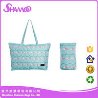 Customized folding in itself a pouch polyester shopping bag for promotion