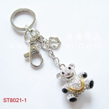 wholesale personalized crystal teddy bear keychain