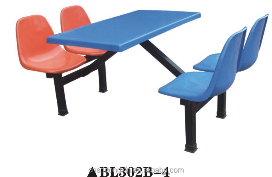 modern FRP fixed unit 4 chair table fixed unit dining table BL302B-4 fixed unit 4 canteen table