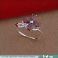 Handmade Unique Clover Design with red zircon Nickel Free woMen Ring Model