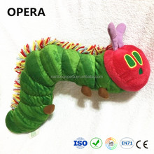 cute fashion giveaway cheap custom green stuffed softer material plush caterpillar