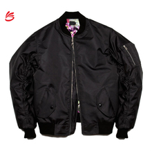 2017 Custom new design classic winter bomber jacket wholesale man with satin lining