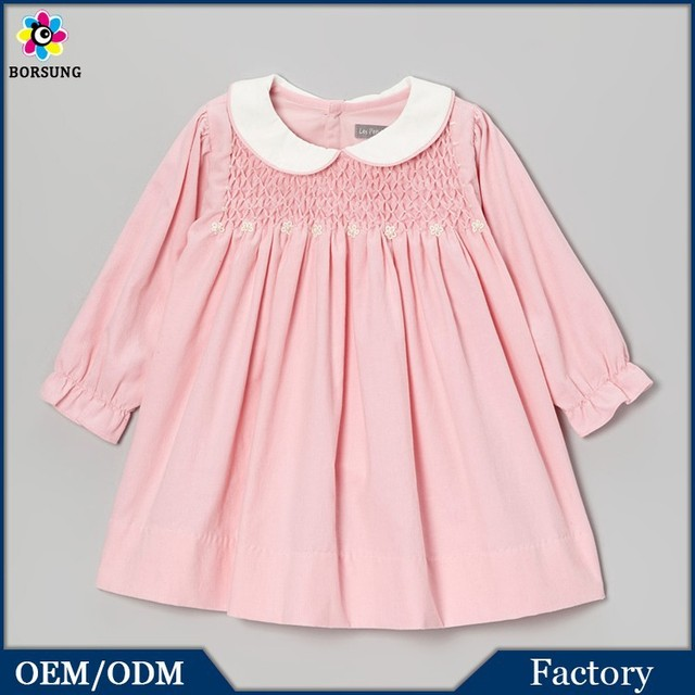 Baby Pink Silk Cotton Peter Pan Neck Long Sleeve Appliqued Toddler Flower Girls Smocked Birthday Party Dresses