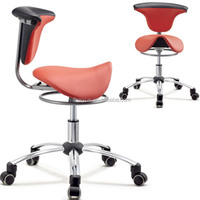 2016 New arrival ergonomic chairs dental assistant chair/dentist chair with red fabric/PU leather