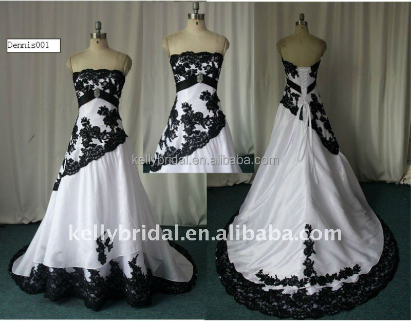 White Wedding Gown Black Lace 105