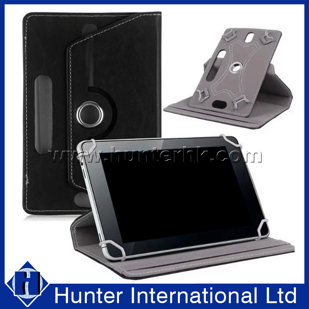 Black PU Leather Rotating Tablet Case For 7-8 Inch