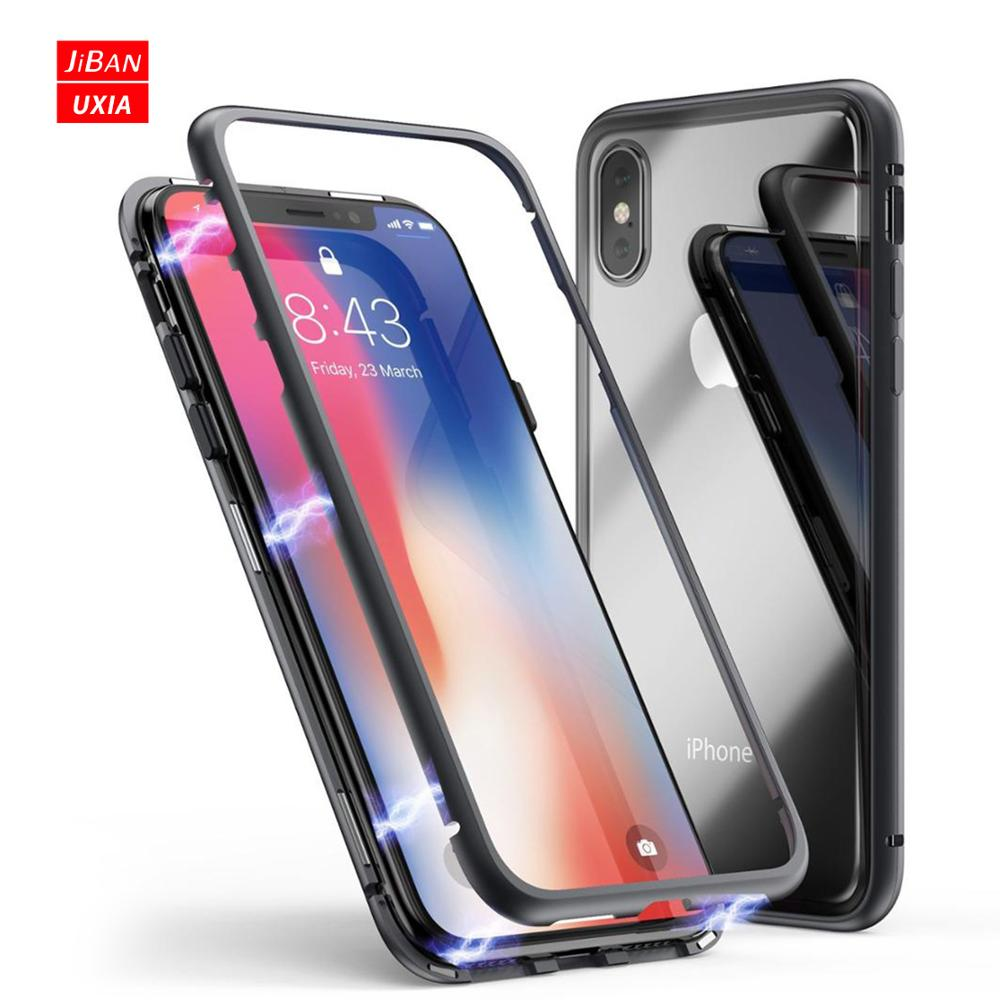 for <strong>iphone</strong> x case magnetic , shockproof slim fit plastic or metal frame and clear tempered glass back cover