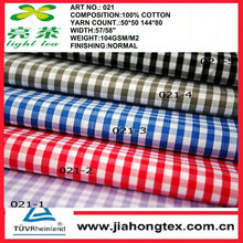 100% cotton yarn dyed gingham check fabric for Men's shirts,ladies' shirting,kids' clothing 50*50 144*80