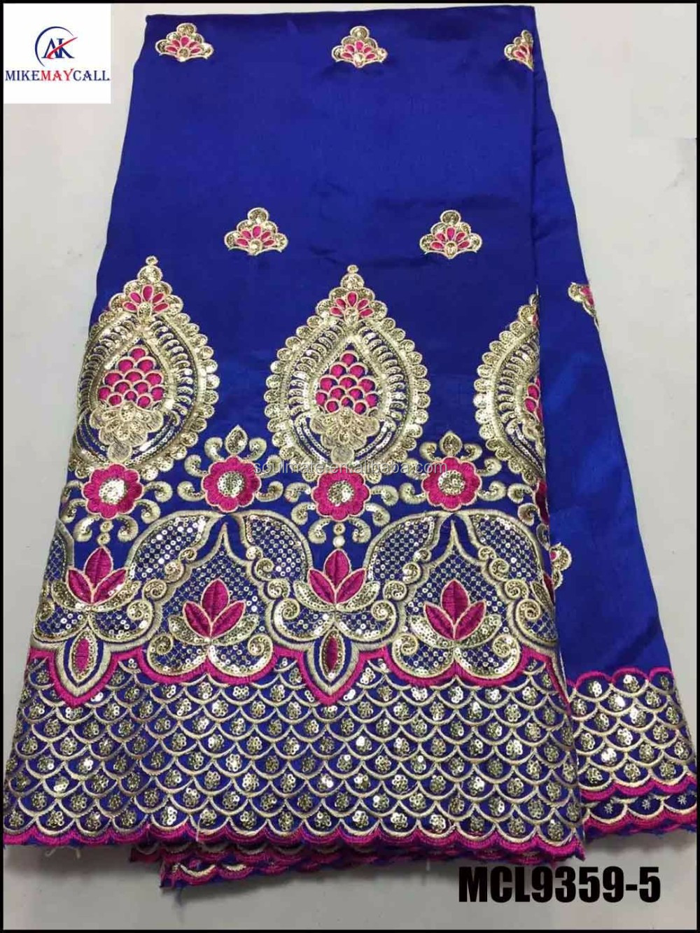 Beautiful india george wrappers raw silk lace fabric in blue