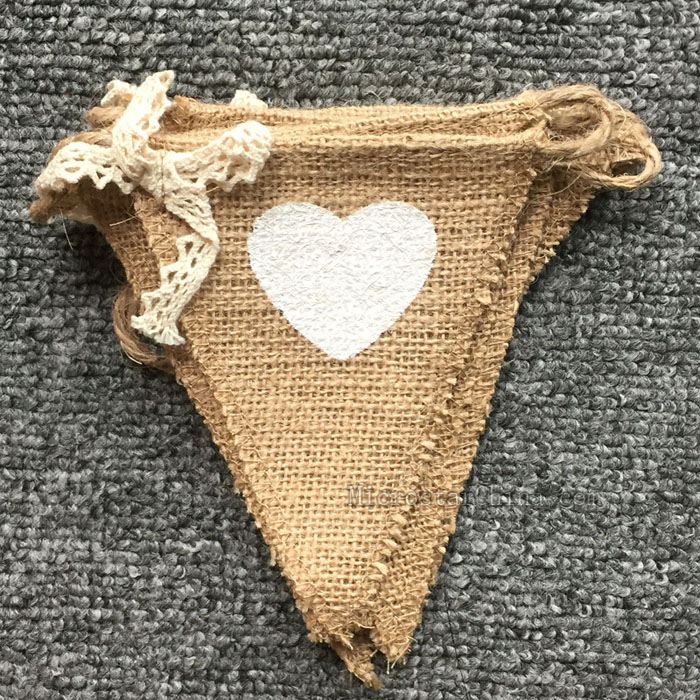 8pcs White Heart Jute Burlap Hessian Bunting Shabby Chic Wedding Party Banner
