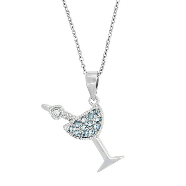 Silver 925 Light Blue CZ Martini
