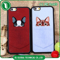 Phone accessory cartoon decoration of pocket dog pocket cat mobile case for iphone 6 plus soft tpu case for apple iphone 6s plus