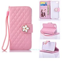 Gird pattern Pearl Flower PU leather+tpu cover with card plug-in for iphone7 wallet cell phone case