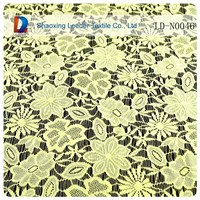 2014 fashionable yellow nylon fabric tissue lace bandung wholesale with high quality