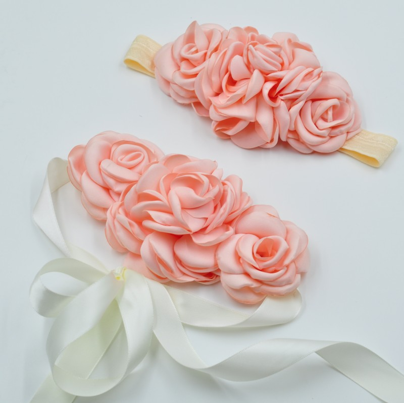 Natural Blossom Bridal Sash Matching Headband Set With Cream Beige Floral Hair Piece Photo Prop