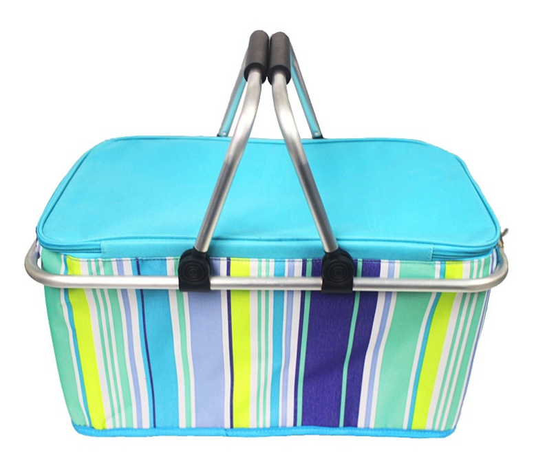 Foldable oxford fabric cooler basket with EVA handle and aluminum frame