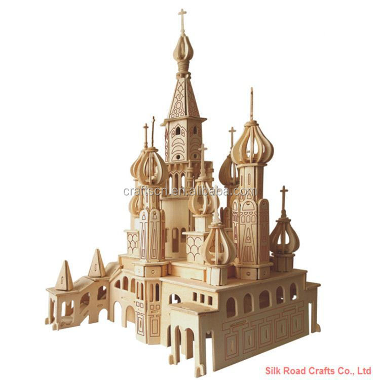 Large russia building 3d wooden puzzle
