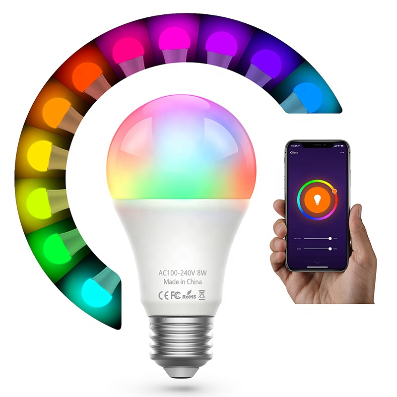 OEM Available Energy Saving Wireless Wifi Smart Life Lamp Led Multicolored Lighting Blub RGBW Smart Bulb <strong>E27</strong>