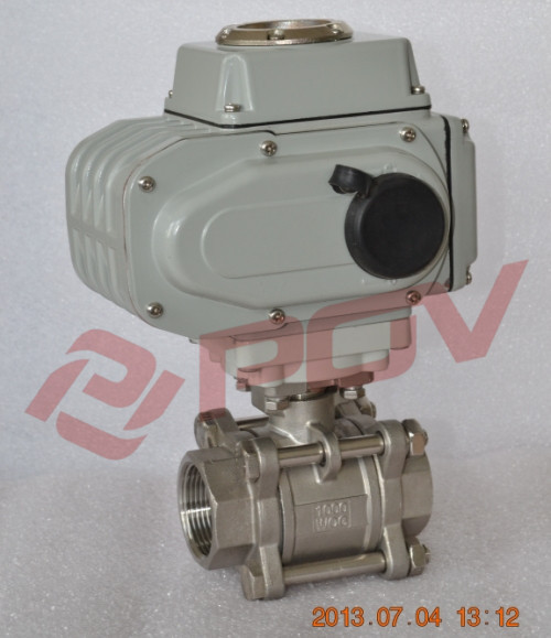 3 pc thread electric motor stainless steel 316 1000 wog ball valve