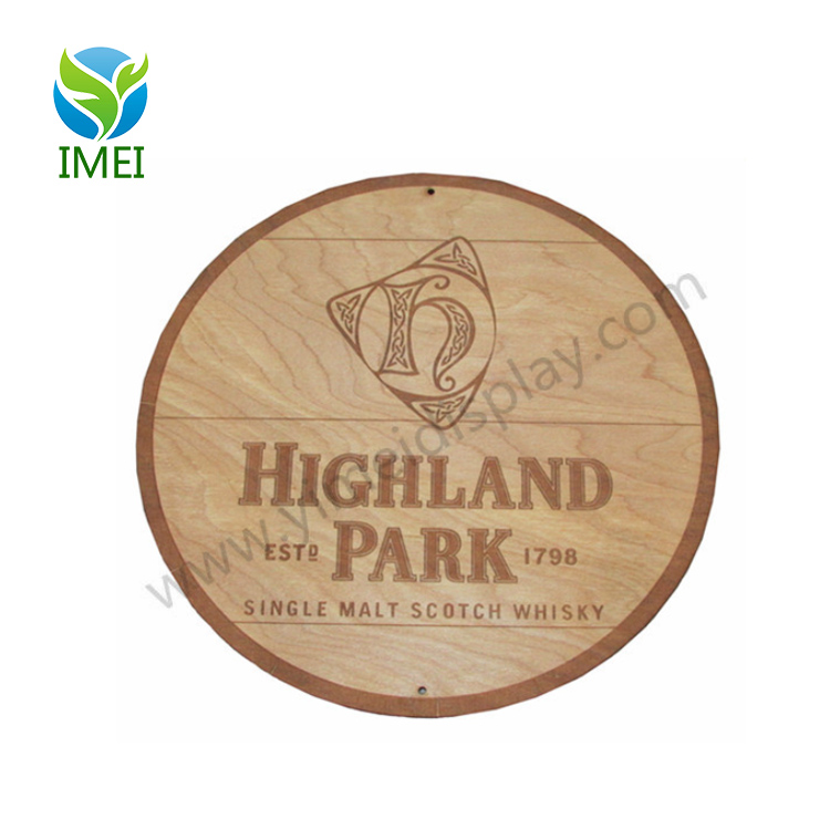 "YM3-169 Top Style 12X12"" Highland Park Scotch Whiskey 12 Round Wood Sign Barrel Cask"