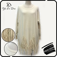 Elegant Beautiful Oversized Tassels Knit Pullovers Sweater Model