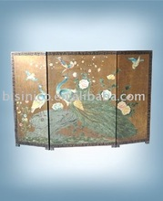 Hand painted three panel fireplace screen,room deviders