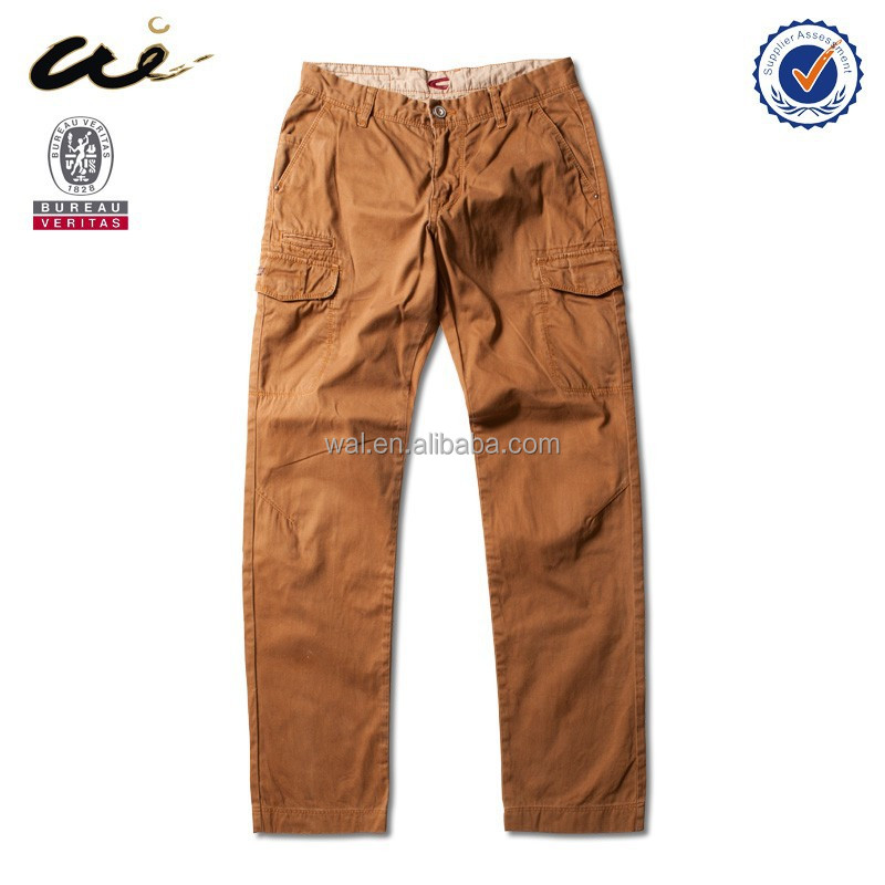 Brown office formal pants;garment dye pants