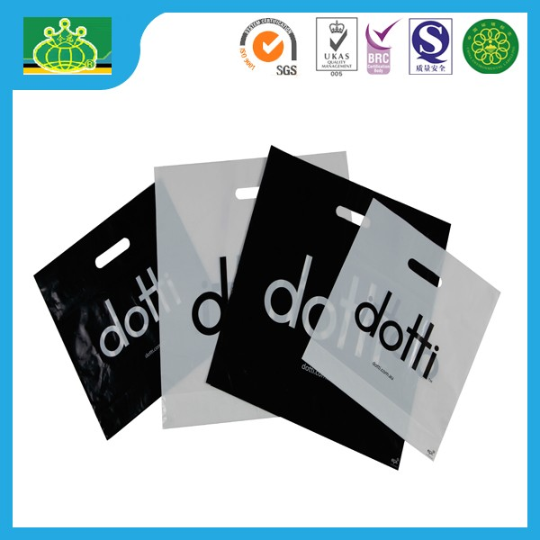 custom logo Die Cut bag/punch out plastic bag with LDPE/HDPE/MDPE material