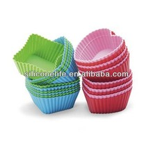 Hot selling high quality food standard mini square shape silicone cup cake mould