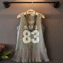 Wholesale Girls Trendy Printing Letters Summer Pleated Cotton Dresses for Children