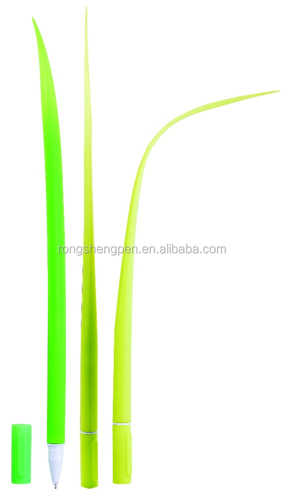 fancy funny silicone silica rubber green grass leaf ball pen onion ballpoint pen