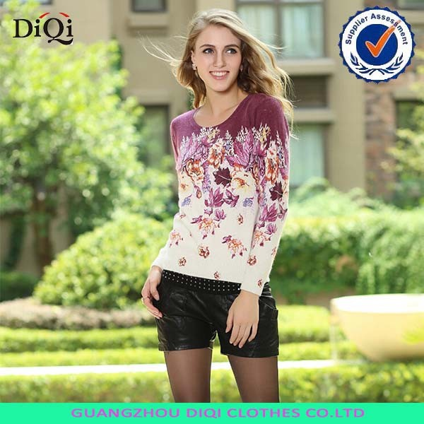 wholesale womens wool sweater knitting jumpers with print